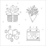 Lineare Ikonen des Feiertags-stilvollen Valentinstags Lizenzfreies Stockbild