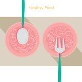 Lineare Ikonen des Lebensmittels stellten auf Teller mit Löffel und Gabel ein Lizenzfreies Stockbild