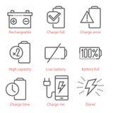 Lineare Ikonen des Vektors stellten mit Batterie und Ökoenergiethema für infographics und UX ein Lizenzfreies Stockfoto