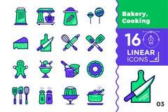 Lineare Ikonen des Vektors stellten von der Bäckerei ein und kochten Hohe Qualität modern Lizenzfreies Stockbild