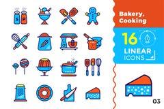 Lineare Ikonen des Vektors stellten von der Bäckerei ein und kochten Moderne Ikonen der hohen Qualität für passendes für Fahnen,  Lizenzfreies Stockfoto