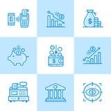Lineare Ikonen des Vektors stellten von der Finanzierung ein und hatten ein Bankkonto Hohe Qualität modern stockfoto