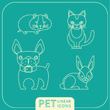 Lineare Ikonen des Vektors von Haustieren Stockfotografie