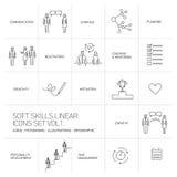 Lineare Ikonen und Piktogramme der Sozialkompetenz eingestellt Stockbilder