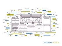 Lineare Innenillustration der modernen Designerküche Stockbilder