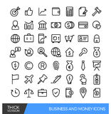 Lineare Linie Ikonen des Geschäfts und des Geldes Stockfotos