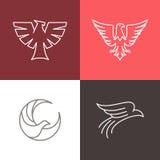 Lineare Logos des Vektoradlers und -falken Lizenzfreie Stockfotos
