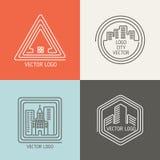 Lineare Logos des wirklichen Gutshauses, Emblemvektorsatz vektor abbildung