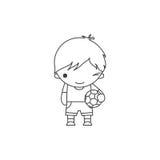 Lineare nette Karikatur, die kleinen Jungen mit einem Fußball in seinen Händen blinzelt Lizenzfreies Stockfoto