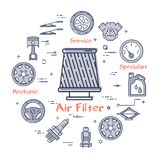 Lineare runde Fahne des Vektors des Luftfilter-Autoteils lizenzfreie abbildung