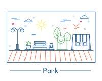 Lineare Stadt- und Parkgestaltungselemente Stockbild