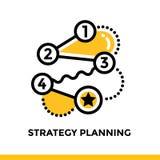 Lineare Strategieplanungsikone für Startgeschäft Piktogramm in der Entwurfsart Vector flache Linie die Ikone, die für bewegliche  Lizenzfreies Stockbild