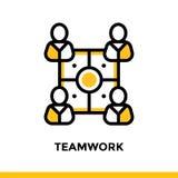 Lineare Teamwork-Ikone für Startgeschäft Piktogramm in der Entwurfsart Vector flache Linie die Ikone, die für bewegliche apps pas stock abbildung