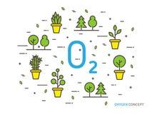 Lineare Vektorillustration des Sauerstoffes O2 Lizenzfreie Stockbilder