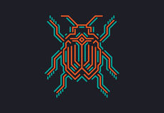 Lineare Wanze in techno Art Vektorillustration auf schwarzem Hintergrund Lizenzfreies Stockfoto