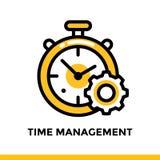 Lineare Zeitmanagementikone für Startgeschäft Piktogramm in der Entwurfsart Vector flache Linie die Ikone, die für bewegliche app Lizenzfreies Stockfoto