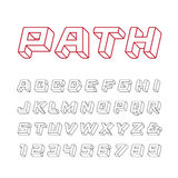 Linearer Guss Vector Alphabet mit Buchstaben und Zahlen des Effektes 3d Lizenzfreies Stockbild
