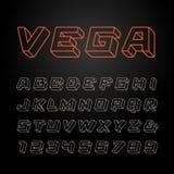 Linearer Guss Vector Alphabet mit Buchstaben und Zahlen des Effektes 3d Lizenzfreie Abbildung