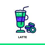 Linearer Ikone LATTE der Bäckerei, kochend Vektorpiktogramm passend Lizenzfreies Stockfoto