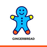 Linearer Ikone LEBKUCHEN der Bäckerei, kochend Piktogramm in der Entwurfsart Passend für bewegliche apps, Website und Designschab Lizenzfreie Stockfotografie
