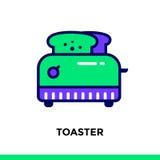 Linearer Ikone TOASTER der Bäckerei, kochend Vektorpiktogramm suitabl Lizenzfreie Stockfotografie