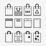Linearer Plastik- und Papiereinkaufstascheikonensatz Lizenzfreie Stockbilder