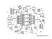 Linearer Rechenzentrum-Serverpark, Vektorillustration bewirtend Lizenzfreies Stockbild
