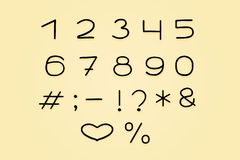 Lineares Design des Alphabetes Zahlen und Interpunktionszeichen ENV 10 stock abbildung