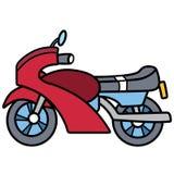 Lineares einfaches Motorrad getrennt auf Leerraum Lizenzfreie Stockfotos