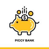 Lineares Ikone SPARSCHWEIN der Finanzierung, habend ein Bankkonto Piktogramm im Entwurf lizenzfreie abbildung