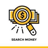 Lineares Ikone SUCHgeld der Finanzierung, habend ein Bankkonto Piktogramm im outli Stockfotos
