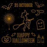 Lineares modisches glückliches Halloween silhouettiert Hexe, Kürbis, Elemente, Spinnenaufkleber, Süßigkeit, Monster, Kerze, Mond, Lizenzfreies Stockfoto