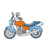 Lineares Motorrad auf weißem Hintergrund Stockfotos