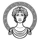 Lineares Porträt der jungen griechischen Frau mit einer traditionellen Frisur Dekorativer Kreis lizenzfreie abbildung