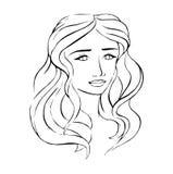 Lineares schwarzes Bild eines Mädchens stock abbildung