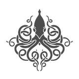 Lineari piani kraken l'illustrazione Immagini Stock