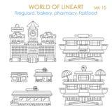 Lineart传染媒介城市修造的外部:面包店,商店,餐馆 库存照片