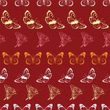传染媒介蝴蝶Lineart镶边无缝的样式 库存图片