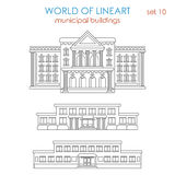 Lineart architecture public municipal building government school. Architecture public municipal government school university college library police station vector illustration