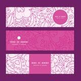 Lineart Blumen des Vektors rosa horizontale Fahnen eingestellt Stockfotografie