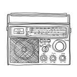 Lineart Boombox радио иллюстрация искусства ретро милая Стоковые Изображения