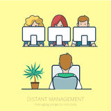Lineart business people distant work management fl. Linear line art business people distant work remotely project management concept flat icon. Infographics Stock Photo