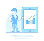 Lineart business people statistical analysis flat Royalty Free Stock Photography