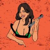 Lineart cómico del estilo de la muchacha atractiva del servicio del coche Imagenes de archivo