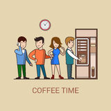 Lineart coffee break concept flat coffee machine d Royalty Free Stock Photo
