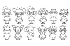 Lineart cute animal boy girl cubs mascot cartoon children icons set coloring book design vector illustration Royalty Free Stock Photography