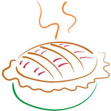 Lineart da torta de Apple Imagens de Stock