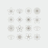 Lineart decorative flowers templates set. Set of sixteen flowers in decorative style lineart Stock Photography
