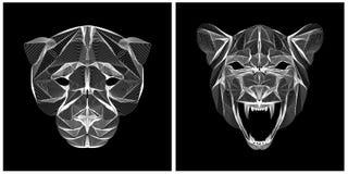 Lineart dużego kota ilustracyjnej głowy czarny i biały kolor Obrazy Stock