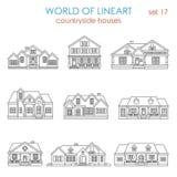 Lineart för radhus för arkitekturbygdhus grafisk Arkivfoto
